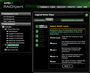 Use RAIDXpert to create individual RAID Ready drives